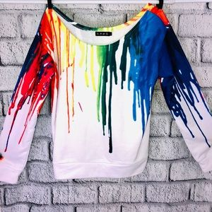Neon Vintage Paint Drip Long Sleeve top S-M